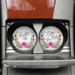 Rustic Floral Car Coaster Set